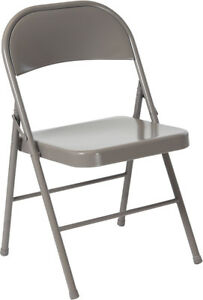 100 Pack Metal Folding Chair Gray Frame Finish Double Braced Commercial Quality
