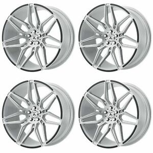 4x Asanti 20x10 5 Abl 11 Sirius Wheels Brushed Silver Carbon Fiber 5x112 38mm