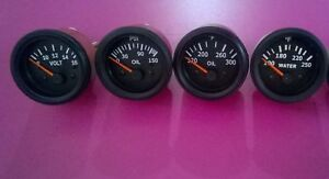 24 Volt Gauges Set 4pc Oil Pressure Temperature Oil Temp Volt Gauge 52 Mm