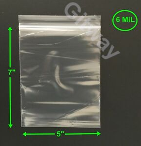 5 X 7 Heavy Duty 6 Mil Resealable Ziplock Zip Lock Bag 5x7 6 Ml Plastic Bags