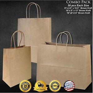 150pcs Wholesale Brown Kraft Paper Bags Lot 8 10 13 Retail Shopping Gift Bags