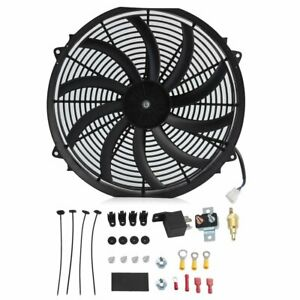 16 Inch Chrome Electric Cooling Radiator Fan Curved Hot Rod With Mount Kit Oy