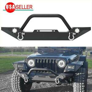 For 87 06 Jeep Wrangler Tj Yj Rock Crawler Front Bumper W Led Lights D Ring