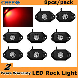 8pcs 3 cree 2 9w Led Rock Light Kit For Jeep Truck Suv Off Road Boat Bright Red