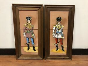 Vintage Pair Of Framed Fireplace Tiles Portugese Soldiers