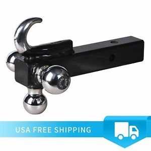 Tri ball Hitch With Hook Trailer Hitch Ball Receiver Mount 1 7 8 2 2 5 16 Tow