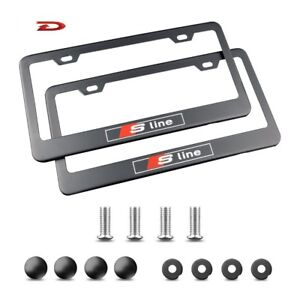License Plate Frame With Screw Caps Cover Set For Audi S Line Black 2 Pieces