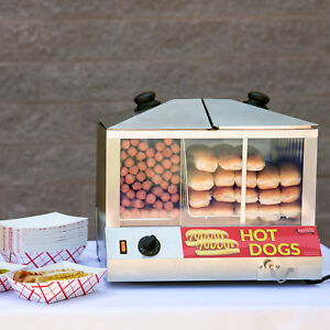 Hot Dog Steamer Commercial Hotdog Bun Warmer Cooker Electric Concession Stand