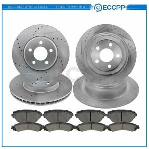 For 2002 04 Honda Odyssey Front Rear Drilled Slotted Brake Rotors Ceramic Pads