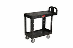 Rubbermaid Commercial Heavy Duty Flat Shelf Utility Cart 4505 Black
