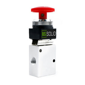 U s Solid 1 4 Pneumatic Control Mechanical Valve 3 Way 2 Position Red Button