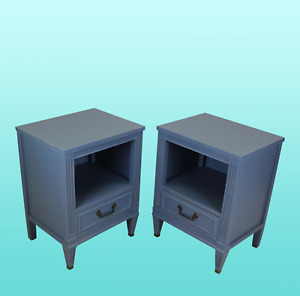 Mid Century Blue Nightstands A Pair
