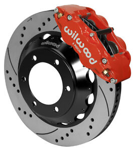 Wilwood Disc Brake Kit front 05 16 Toyota Tacoma 14 Drilled Rotors red Calipers