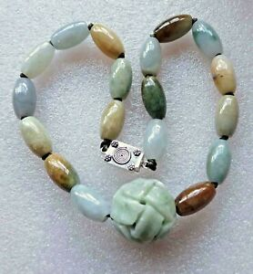 Vintage Antique Chinese Carved Qilin Jade Jadeite Beads Ster Necklace 140gm
