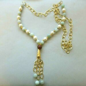 Vintage Chinese Jadeite Jade Carnelian Pearl Gold Over Sterling Tassel Necklace