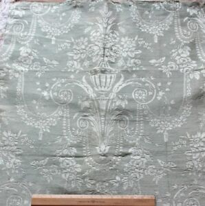 Beautiful Antique French Ice Blue Wool Silk Home Dec Fabric C1850 1860