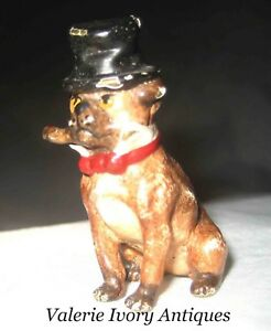 Antique Vienna Bronze Pug Dog Top Hat Cigar Austria Cold Paint