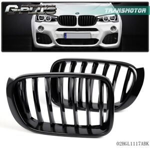 For Bmw X4 F26 2014 2015 2016 2017 Front Bumper Kidney Grille Glossy Black