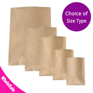 Multi size Kraft Paper Silver Laminated Inner Open Top Bag Pouch Wholesale