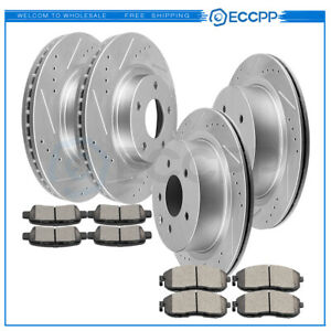 Front Rear Drilled Slotted Brake Rotors Ceramic Pads For 02 04 Infiniti G35
