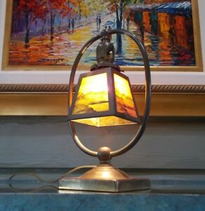 Stickley Era Harp Lamp Hubbell Edison Bryant Hardware Hand Painted Stained Glass