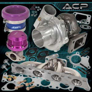 Audi Volkswagen 1 8t Exhaust Manifold T3 Turbo Wastegate Velocity Stack Purple