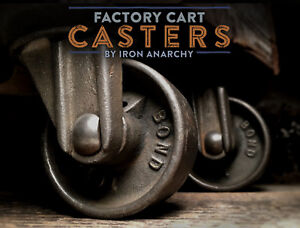 Vtg Factory Cart Casters Antique Cast Iron Metal Industrial Coffee Table Wheel