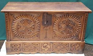 Vintage Mid Century Spanish Basque Wooden Chest Hand Carved Antique Trunk Rare