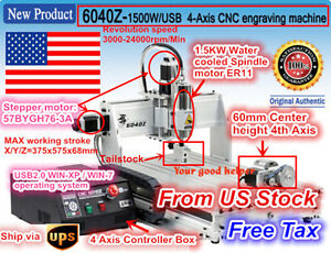 usa 4 Axis 1500w 6040 Usb Mach3 Cnc Router Engraving Milling Cutting Machine