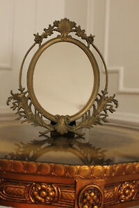 Vintage Oval Antique Mirror Venetian Italian Believed Origin