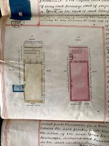 Lot Of Four Parchments In English 1866 With Factory Plan Counterpart Lease