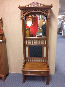 Antique Oak Seated Hall Tree Original Finish Shipping Available