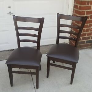 Lot Of 15 Solid Wood Restaurant Mahogany Ladder Back Chairs Made In Canada