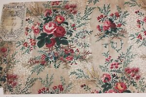 French Antique Hand Blocked Chintz Fabric Sample C1870 Thierry Mieg