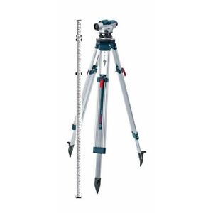 Automatic Optical Level Kit 5 6in 5 Piece Tripod Rod Magnification Power Lens