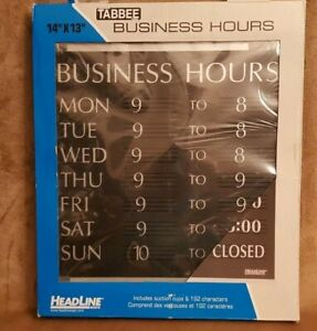 Business Hours Sign Headline Hanging Window Black 192 Letters 14x13 Tabbee New