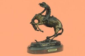 Bronze Sculpture Rattle Snake Spooks Horse Cowboy Western Remington Statue Decor