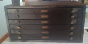 Antique Watchmakers Jewelers 6 Drawer Steel Parts Cabinet