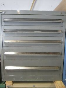 Stanley Vidmar Bench Height 5 Drawer Industrial Tool Cabinet 27 75dx29 75wx33 2h