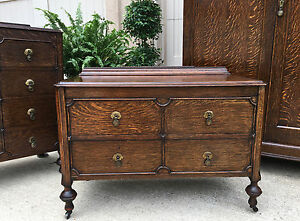 Antique English Carved Tiger Oak Jacobean 2 Drawer Chest Table Dresser Vanity