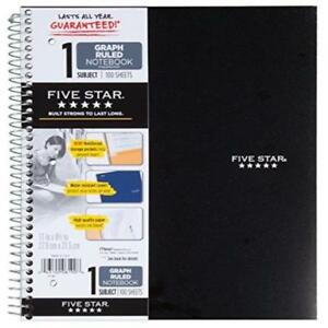 Five Star 6 pack Assorted Colors 100 sheets Graph Ruled Spiral Notebook New