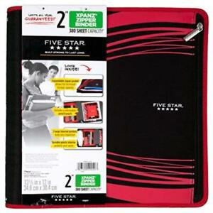 Five Star Xpanz Red 2 3 ring Zipper Binder With Removable Pencil Pouch Durabl