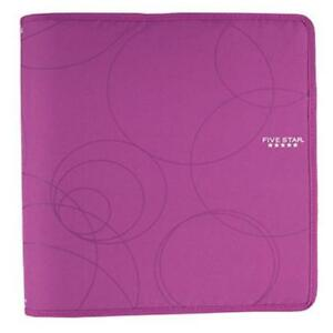 Five Star Purple 1 5 3 ring Zipper Binder Office School Organization Interior