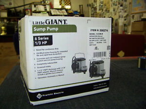 Franklin Electric Little Giant Sump Pump 25 Ft Cord 6 Seres 1 3 Hp 506274 New