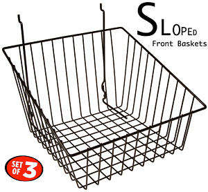 Only Hangers Black Tapered Slatwall gridwall Basket 12 X 12 X 8 3pcs