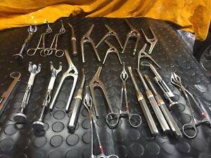 Lot Of 23 Holding Clamps Medical Instrument And Mixed Stainless Steel