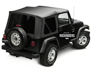 1997 2006 Jeep Wrangler Tj Replacement Soft Top With Tinted Rear Windows Black
