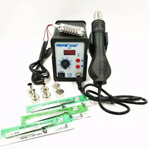Hot Air Gun Soldering Rework Station Digital Desoldering Station 6 Air Nozzles