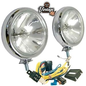 Classic Car New Front Chrome 55w Spot Lights Driving Lamps Pair Wiring Kit