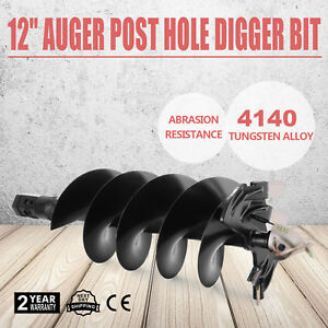 12 Auger Post Hole Digger Bit Skid Steer Attachment Hex Abrasion Resistance